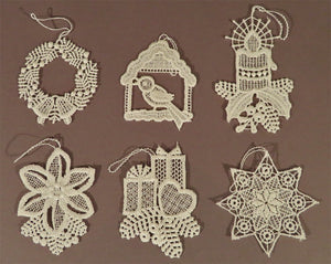 Full Lace Linen Ornaments - Ecru, Set of 6 with Christmas Designs