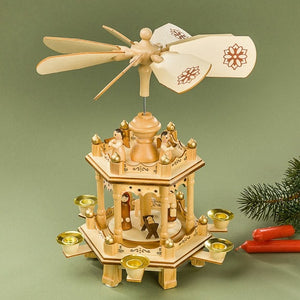 Christmas Pyramid - Holy Family Nativity Scene with Angels
