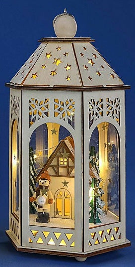 Lantern - Winter Scene with House & Child
