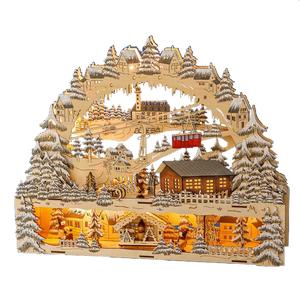 Christmas Schwibbogen - Alpine Scene with Ski Lodge