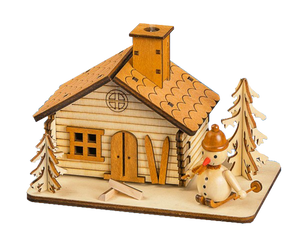 Smoke House Ski Hut w/ Snowman