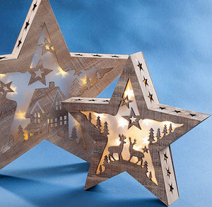 LED Star with Deer & House Design - 11""