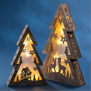 LED Tree with Deer & House Design - 11 in.