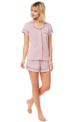 Cat's Simple Stripe Pima Knit Short Set