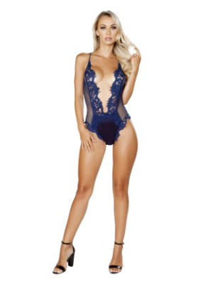 One Piece V-Shaped Eyelash Lace & Satin Teddy