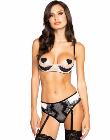 Roma Half-cup satin & lace short set with pair of  garters