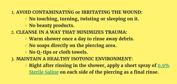 Piercing Aftercare Summary
