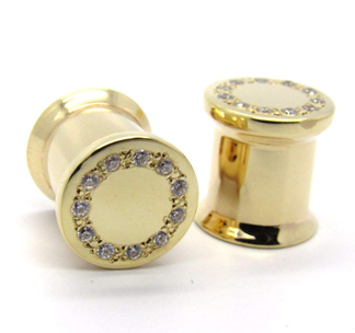 BVLA   0g Yellow Gold Double Flare Plug Pair
