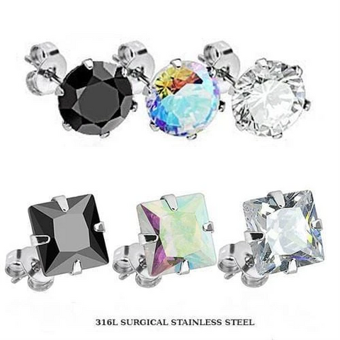 Prong Set CZ Earring Studs with Steel Post