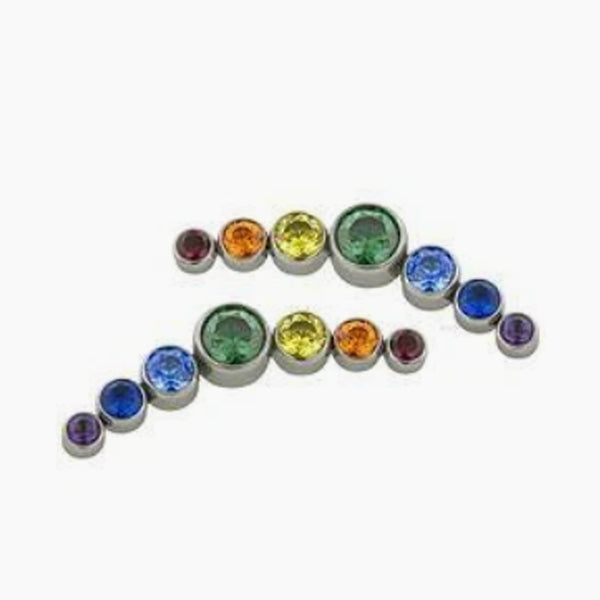 Threaded 14g Rainbow Gem Arc Cluster Top