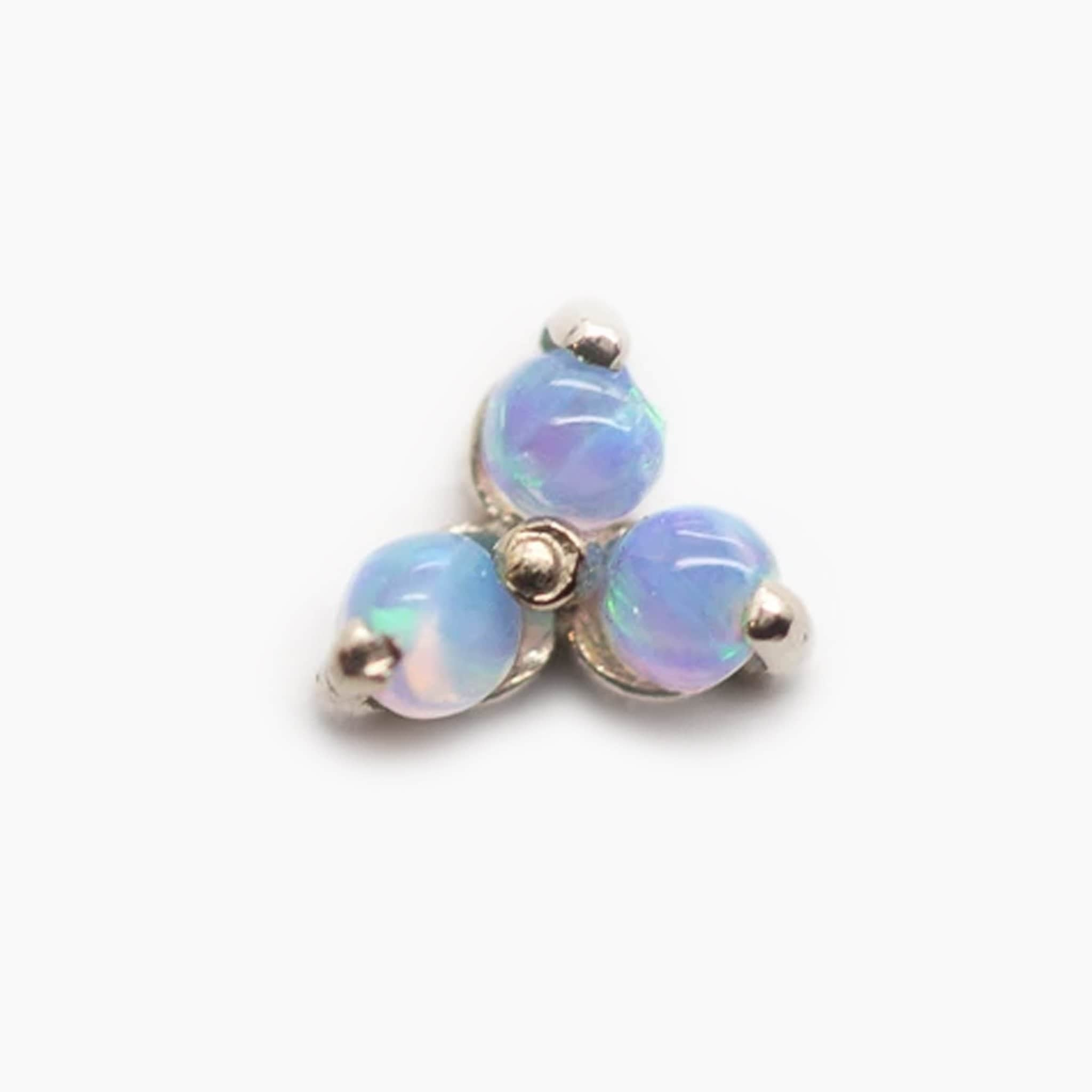 Threadless 14k Gold Genuine Opal Trinity Ends
