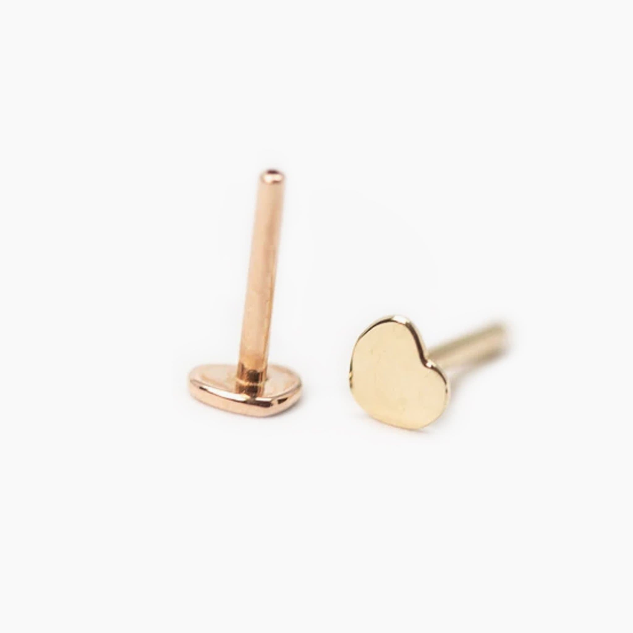 Threadless 14k Gold Heart Shaped Flat-Back Labret Posts