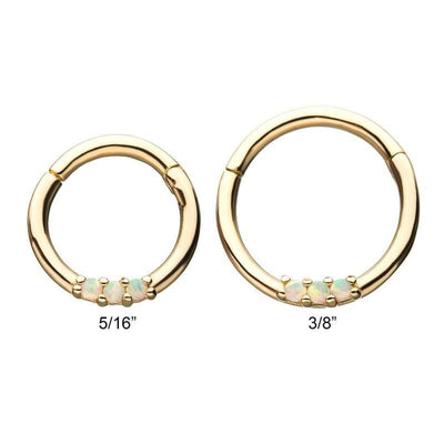 14kt Gold 3-Prong Set White Opal Hinged Segment Ring