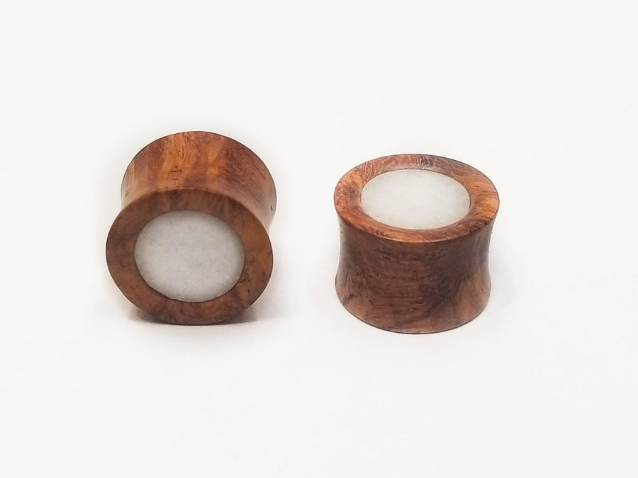 "Evolve | 5/8"" Cherrywood Plug Pair with Quartz Inlay - Avanti Body Piercing & Fine Jewelry"