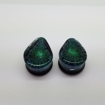 Glasswear Studios | Dichro Teardrop Double Flare Plugs - Avanti Body Piercing & Fine Jewelry