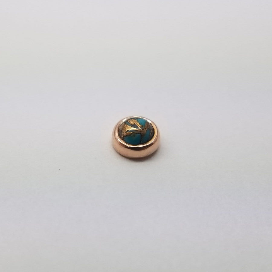 Local Natives | 14k Gold Copper Banded Turquoise Threadless End - Avanti Body Piercing & Fine Jewelry