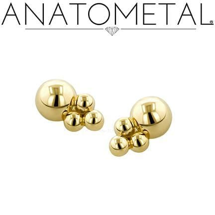 Anatometal | 18k Gold Desta Threadless End - Avanti Body Piercing & Fine Jewelry