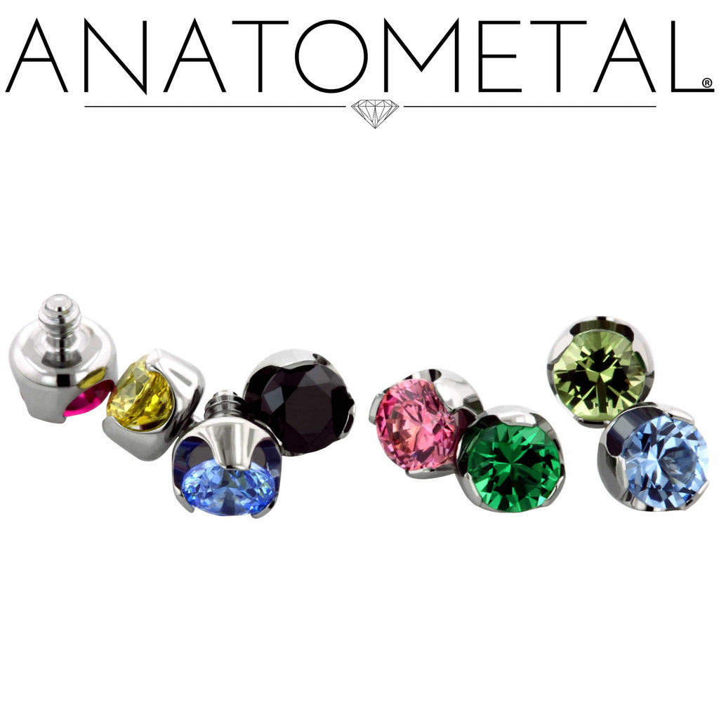 Anatometal | 16g Med Prong-Set Gem Threaded End - Avanti Body Piercing & Fine Jewelry