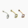 BVLA |  Prong Set Slim Line CZ Navel Ring