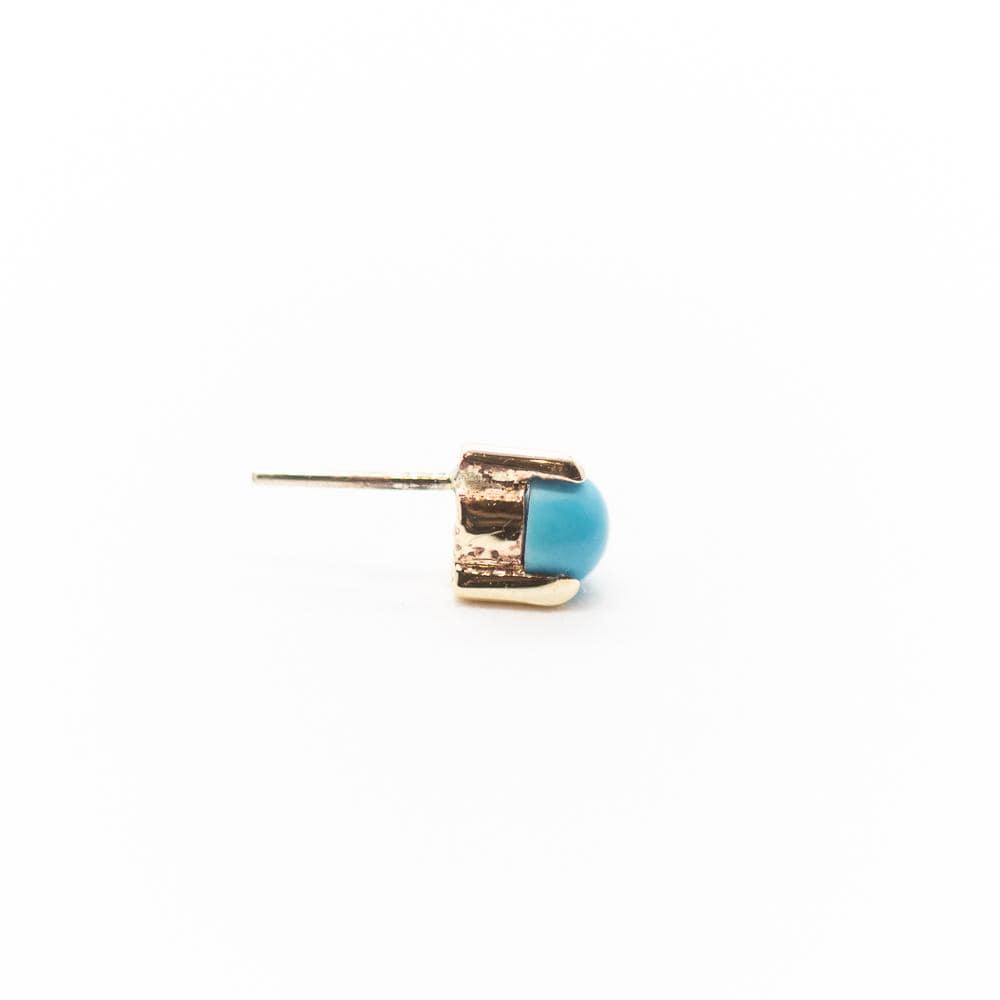 Threadless 14k Gold 3-Prong Genuine Turquoise Tops