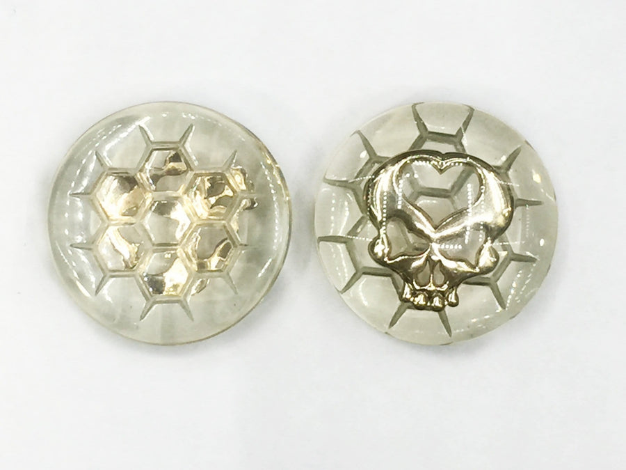 "Flaming Bones | 1 3/8"" Resin & Brass Skull Plug Pair - Avanti Body Piercing & Fine Jewelry"