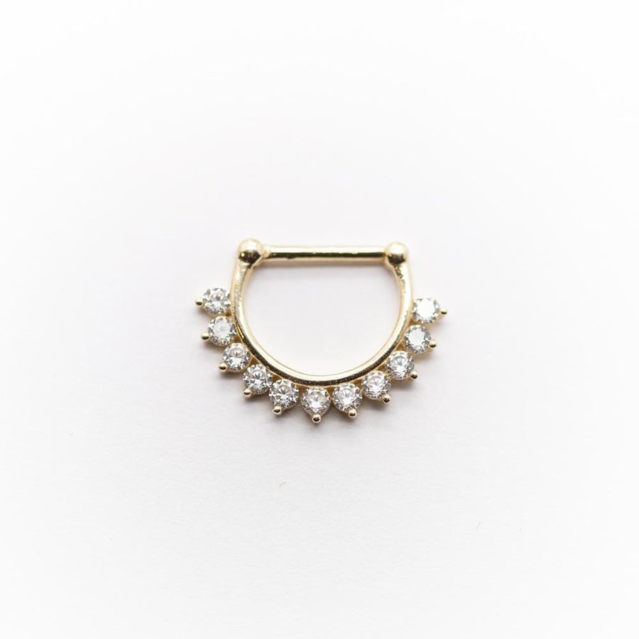 14k Gold Prong Set CZ Septum Clicker