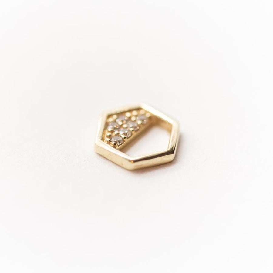 14K Yellow Gold Hexagon and Pave CZ Threadless Top