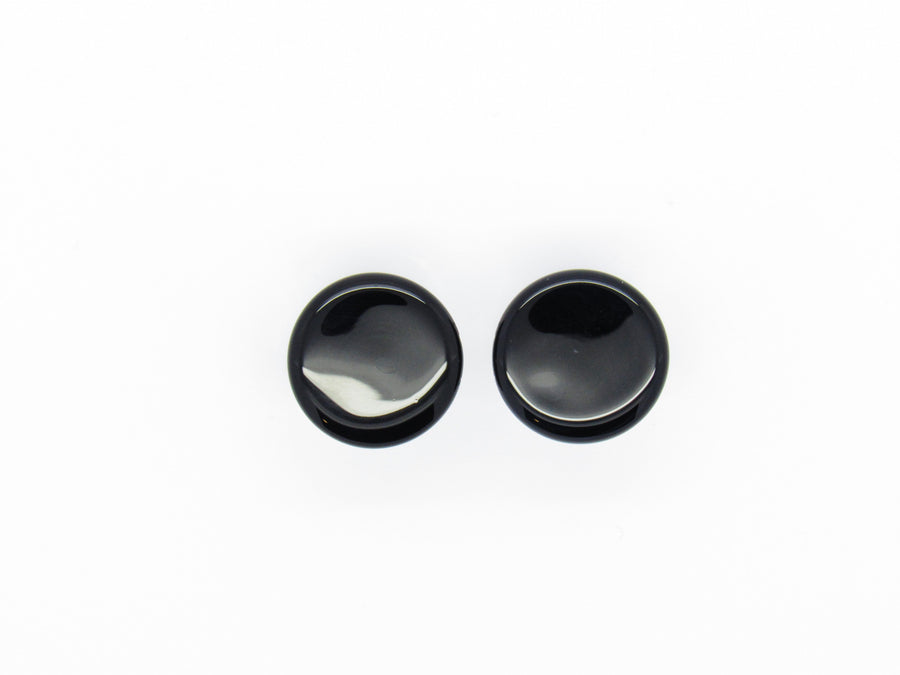 Glass Single Flare Colorfront Plug - Black - Avanti Body Piercing & Fine Jewelry