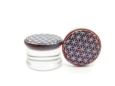 "Glasswear Studios | 11/16"" Flower of Life Plugs - Avanti Body Jewelry  - 1"