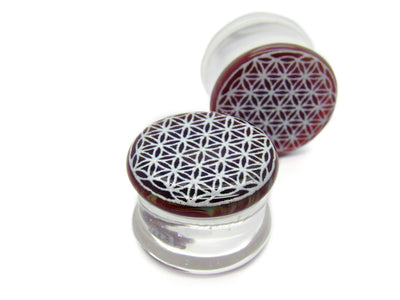 "Glasswear Studios | 11/16"" Flower of Life Plugs - Avanti Body Jewelry  - 3"