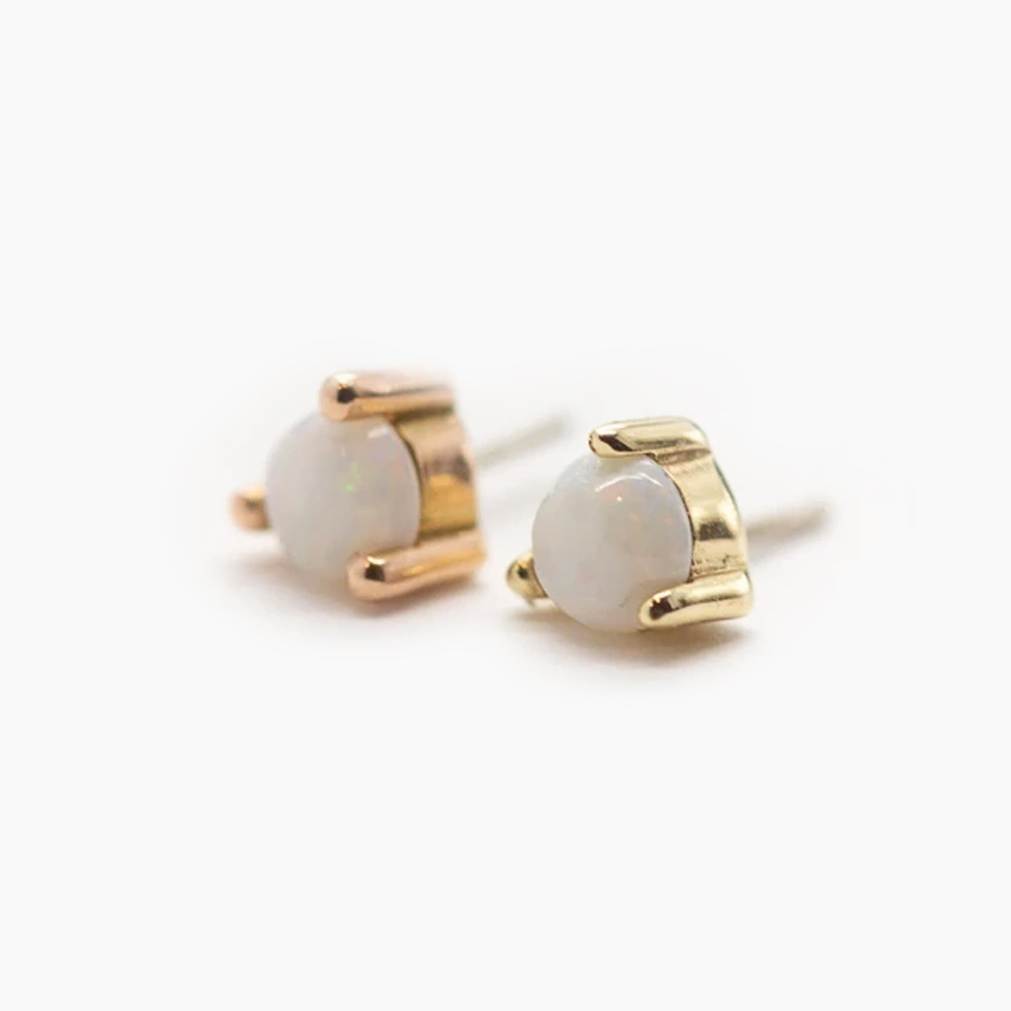 Threadless 14k Gold 3-Prong Genuine Opal Tops