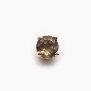 Threadless 14k Genuine AA Smoky Quartz Tops