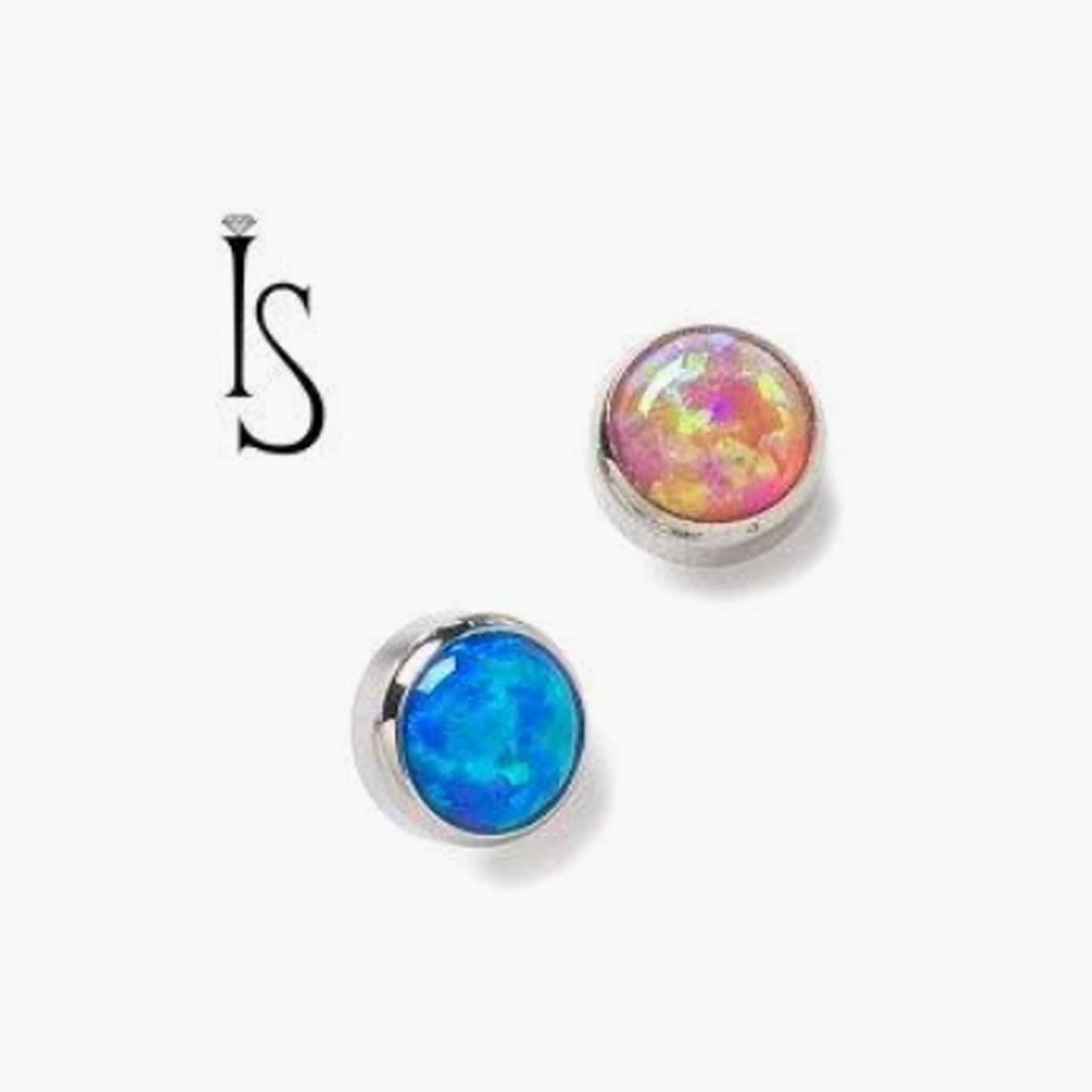 Threaded Opal & Stone Cabochon End / Dermal Top