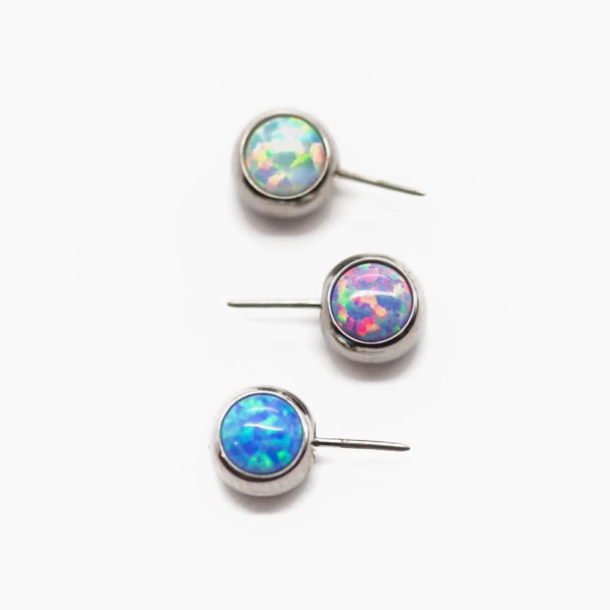 Threadless Side-Set Gem & Opal Ends