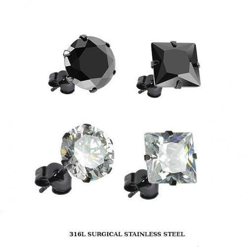 Prong-Set CZ Earring Studs with PVD Black Post - Avanti Body Jewelry