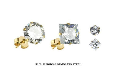 Prong-Set CZ Earring Studs with Gold-Plated Post - Avanti Body Jewelry  - 1