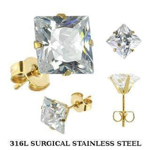 Prong-Set CZ Earring Studs with Gold-Plated Post - Avanti Body Jewelry  - 3
