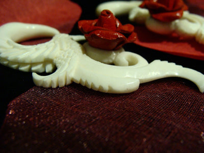 Carved Hummingbird Bone Hangers with Red Rose - Avanti Body Jewelry  - 4
