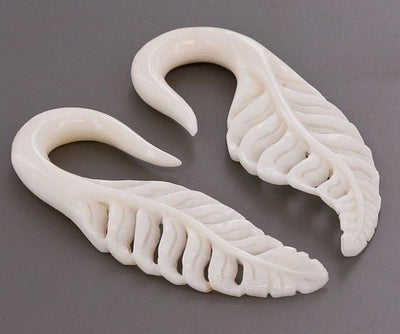 Delicate Carved Bone Leaf Hangers - Avanti Body Jewelry  - 1