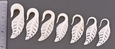 Delicate Carved Bone Leaf Hangers - Avanti Body Jewelry  - 2
