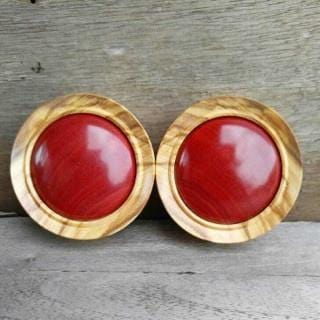 "Olive Wood with Convex Pink Ivory Inlay Plug Pair | 1 7/8"" - Avanti Body Jewelry"