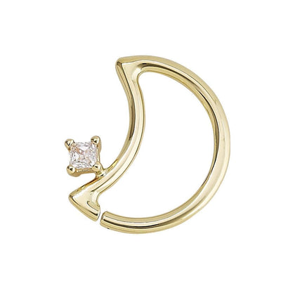14K Gold LunEAR Daith Moon - Avanti Body Jewelry  - 7