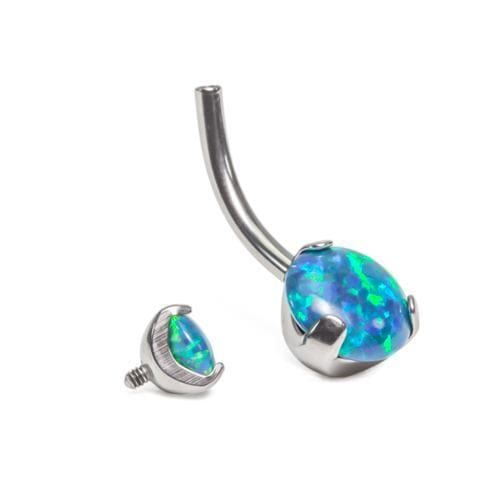 Titanium Prong Set Opal Navel Ring