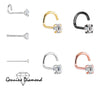 14K Gold 18g Genuine Diamond Nose Stud - Avanti Body Jewelry  - 1