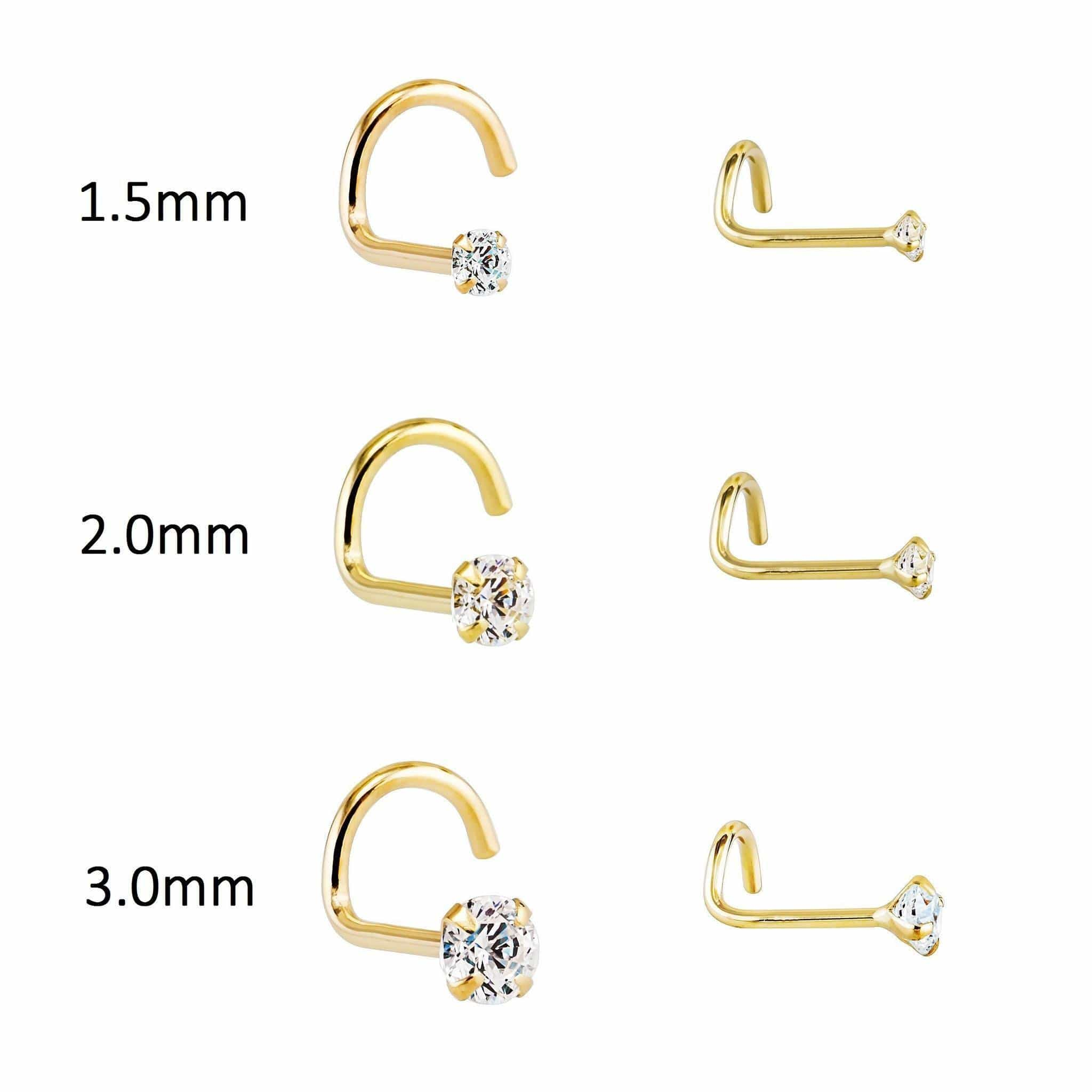 14K Gold 20g Genuine Diamond Nose Stud - Avanti Body Jewelry  - 2