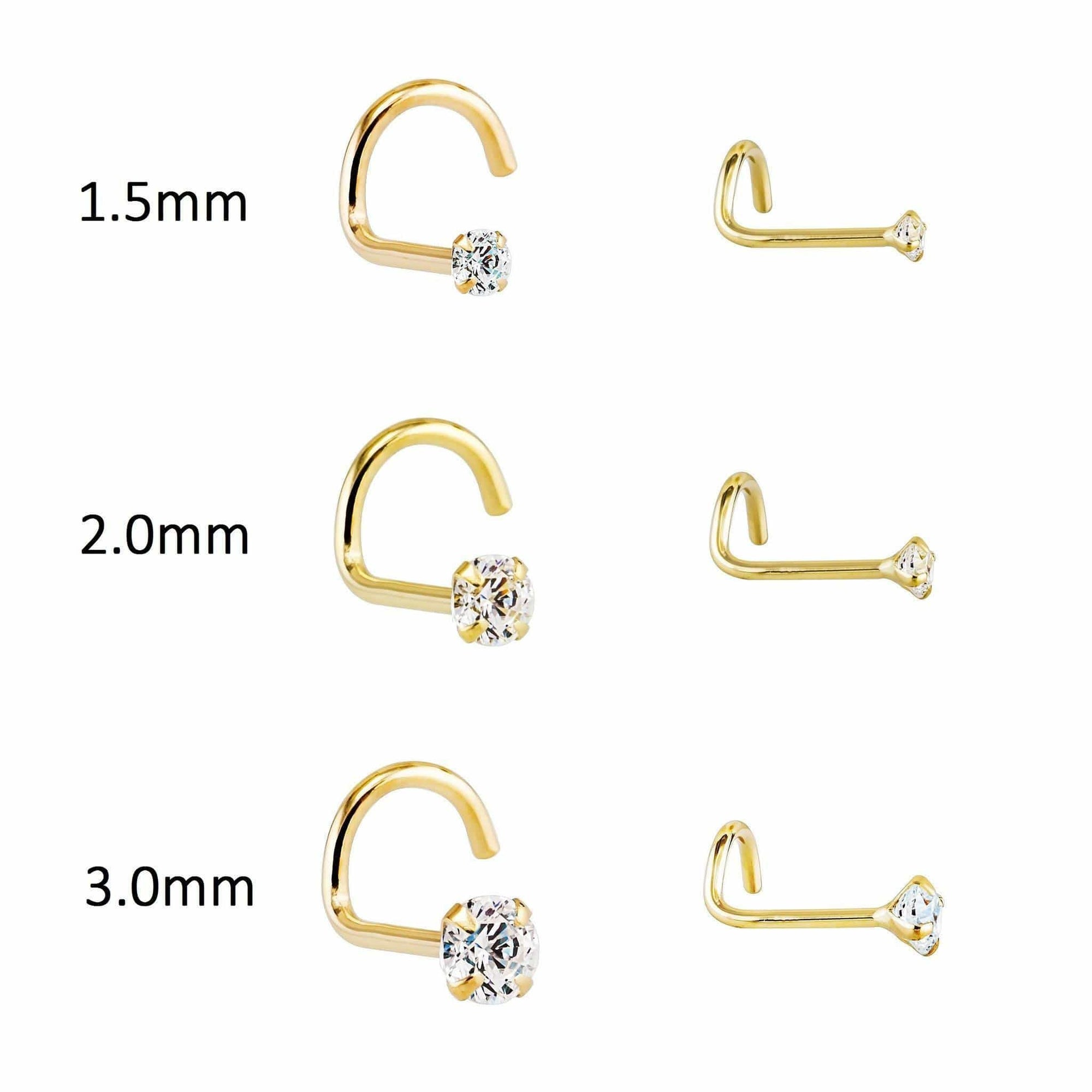 14k Gold 20g Genuine Diamond Nose Stud