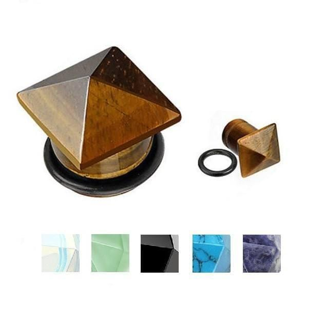 Pyramid Top Stone Plug Pair - Avanti Body Jewelry  - 1