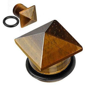 Pyramid Top Stone Plug Pair - Avanti Body Jewelry  - 3