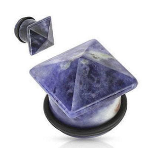 Pyramid Top Stone Plug Pair - Avanti Body Jewelry  - 6