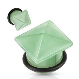 Pyramid Top Stone Plug Pair - Avanti Body Jewelry  - 7